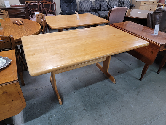 Butcher Block Style Wood Dining Table