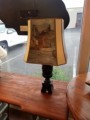 Black Desk / Table Lamp w/ Pictural Shade #L53