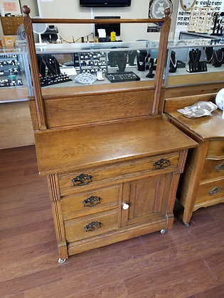 Three Drawer Wood Commode Washstand w/ Towel Bar