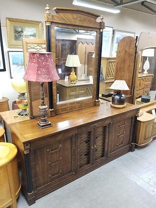 Eleven Drawer Wide Wood Dresser w/ Mirror & Gold Accents