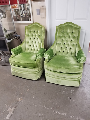 Matching Pair of Green Upholstered Tufted Back Accent Chairs