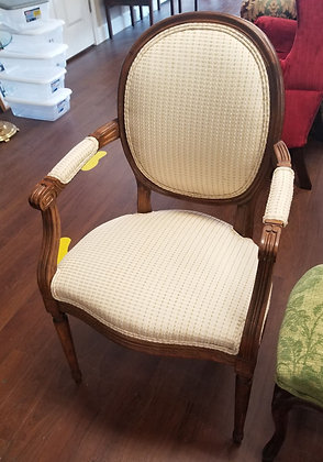 Carved Wood Accent Chair w/ Upholstered Seat Back & Arms