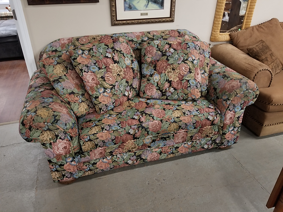 Dark Floral Upholstered Sofa Couch Love Seat With Four Throw Pillows