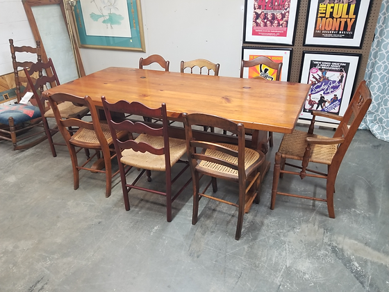 Long Pine Wood Trestle Dining Table w/ Eight Mismatch Chairs