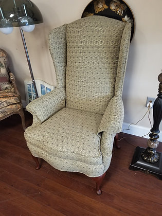 Tan / Multi Color Queen Anne Wingback Accent Chair