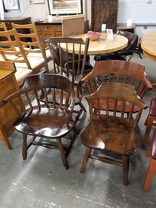 Set of Four Spindle Back Style Dark Pine Wood Dining Chairs