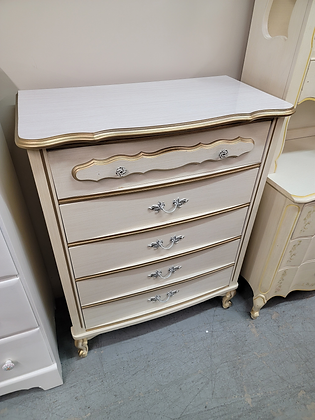 Four Drawer Tall French Provincial Wood Dresser Chest