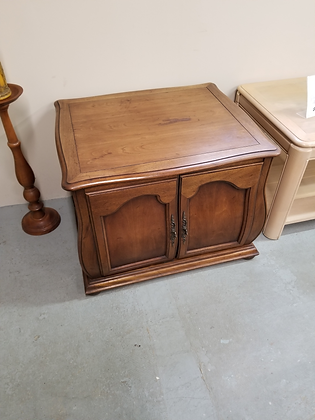 Two Door French Provincial Wood End Table Nightstand