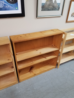 Three Tier Light Pine Wood Bookshelf Bookcase (1/2)