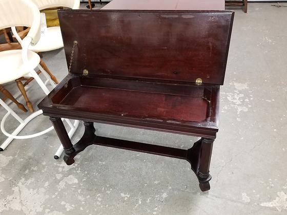 Dark Wood Lift Top Storage Piano Bench