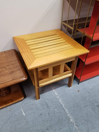 Two Tier Slat Top Light Wood End Table / Side Table