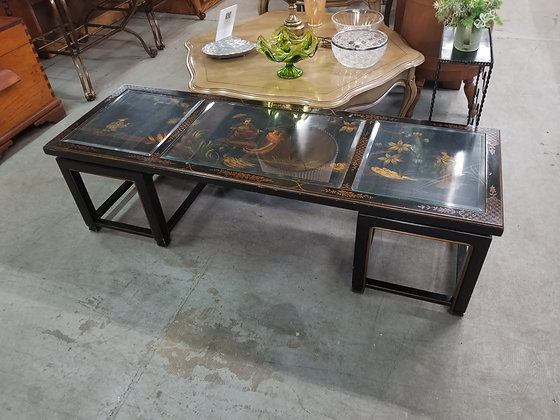Asian Theme Black Wood Coffee Table w/ Glass Panel Inserts