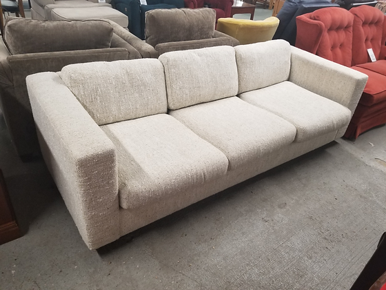 Light Beige Upholstered Three Seat Sofa Couch w/ Removable Cushions