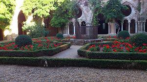 La roseraie  de l'abbaye de Fontfroide dans les Corbières se visite en Mai