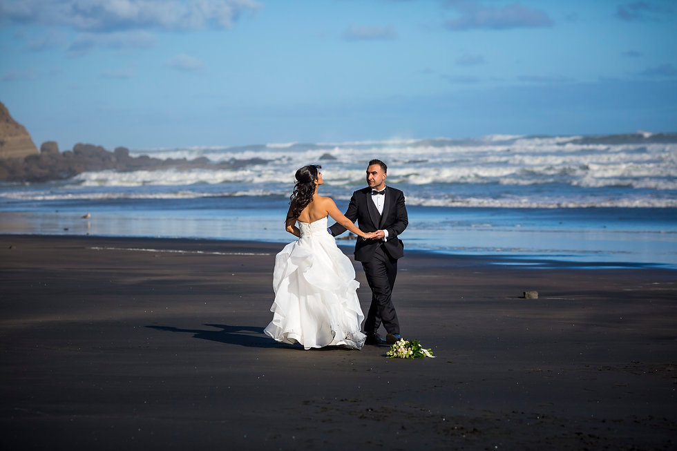Bride and Groom in Muriwai Beach