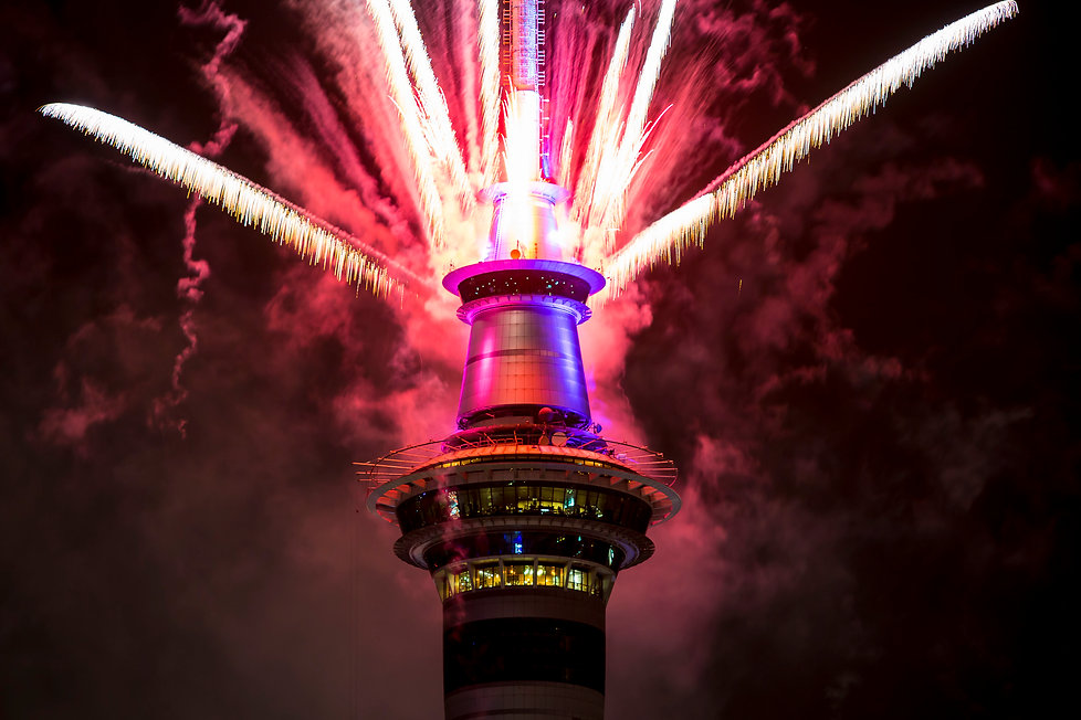 Auckland Skytower Red Fireworks