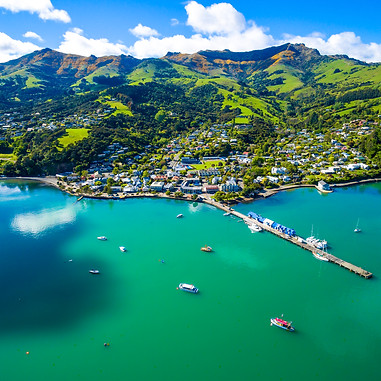 Akaroa City Aerial View