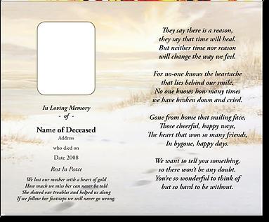 memoriam card cards deceased sunrise beach  laminated cards lamination