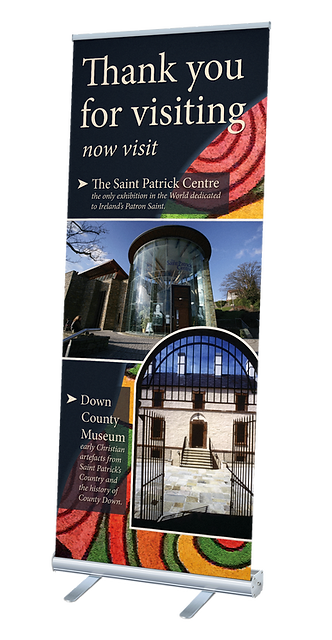 Roller banner banners saint patrick st patrick visitor centre down museum county down gates colour saint anthony