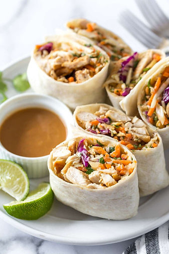 Asian Chicken Wraps with Peanut Sauce -