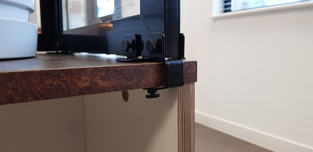 clamping system for protective screen for reception