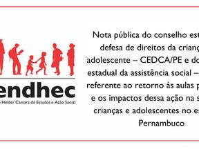 Nota Pública do CEDCA/PE e CEAS/PE  sobre o retorno às aulas presenciais em Pernambuco.