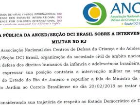 Anced divulga nota contrária a intervenção militar no RJ