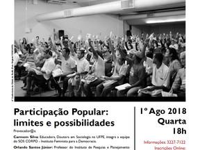 Roda de Diálogo irá discutir a participação popular na atual conjuntura