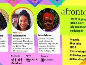 """Cendhec lança site Afrontosas com live """"Vozes negras pelo direito à igualdade de gênero e educação"""""""