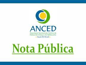 Anced emite nota pública sobre declarações da ministra Damares Alves