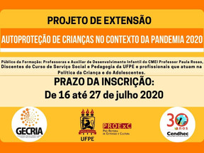 Projeto de Extensão Autoproteção de Crianças no Contexto da Pandemia está com inscrições abertas
