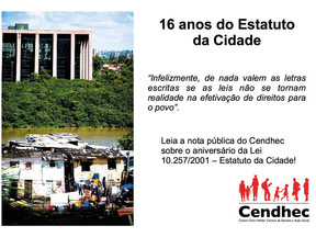 Cendhec lança nota pública sobre os 16 anos do Estatuto da Cidade.