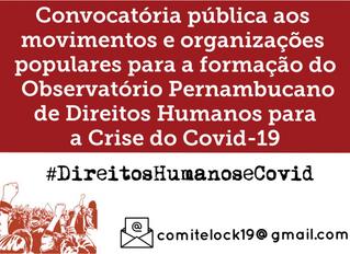 Convocatória pública aos movimentos e organizações populares para a formação do Observatório Pernamb