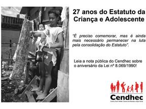 Cendhec lança nota pública sobre os 27 anos do Estatuto da Criança e do Adolescente.