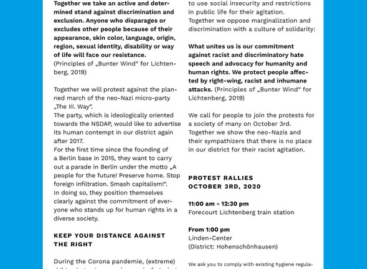 Loud and resolute against Nazi march on 3rd October