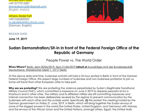 Press Release: Sudan demonstration / Sit-in in front of the Federal Foreign Office