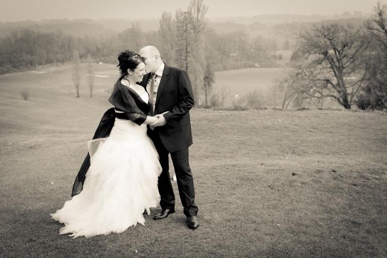 Photos de Mariages, Photos de couples, sepia sur le golf