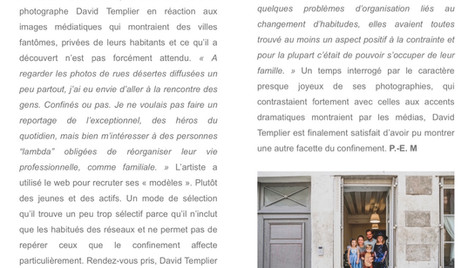 Article Arts hebdo medias David Templier Confinement