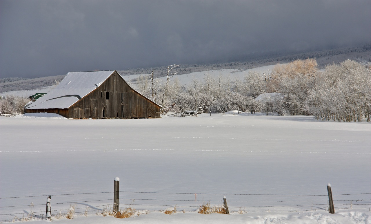Weston's Barn in Snow