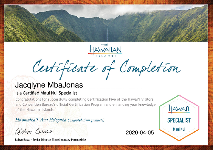 Maui Certified Travel Specialist