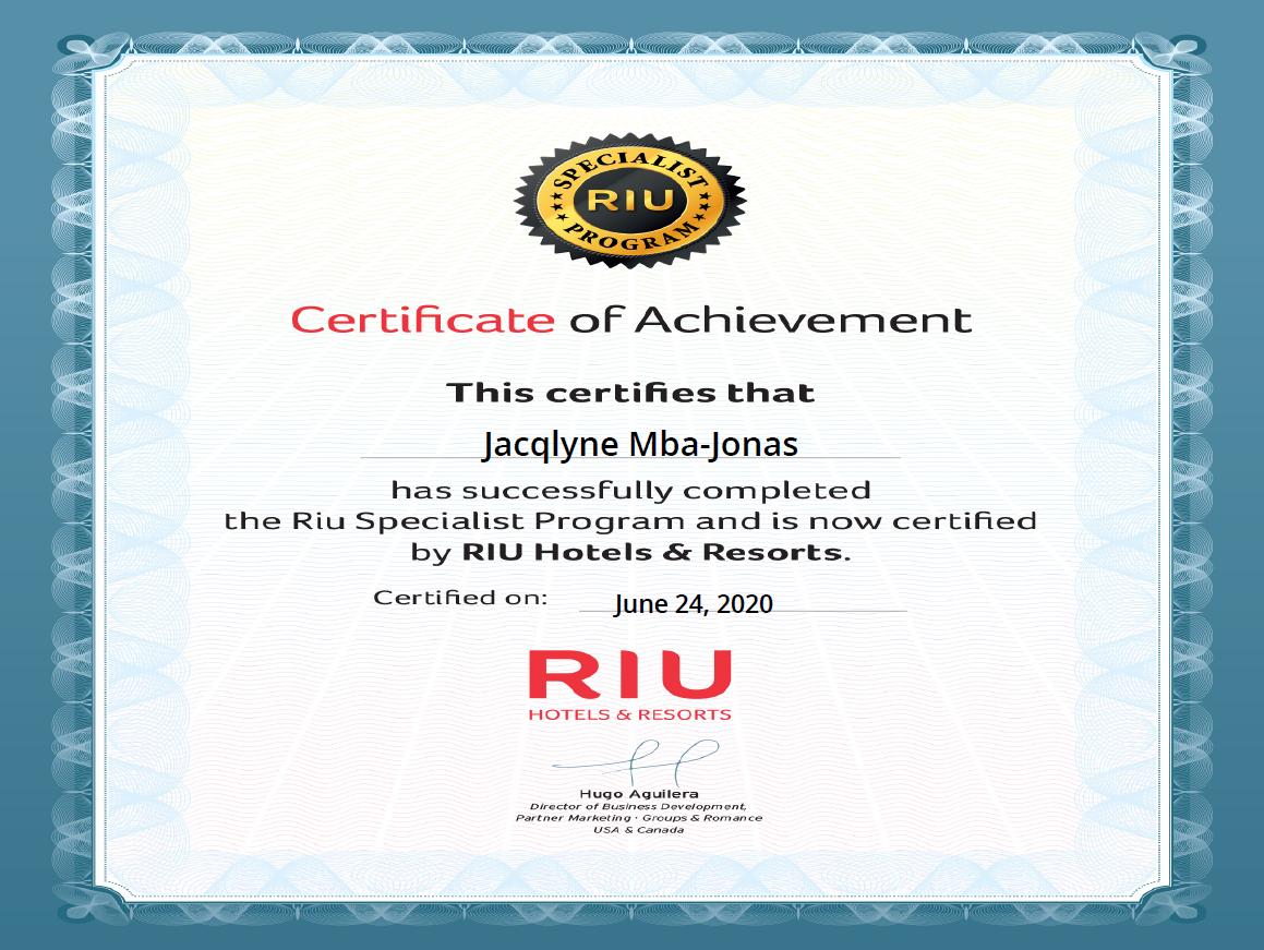 RIU Resorts Certified Travel Specialist