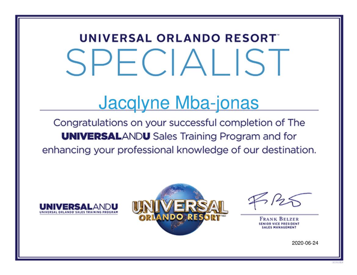 Universal Orlando Certified Travel Specialist