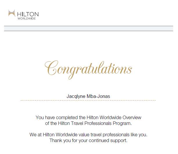 Hilton Worldwide Certified Travel Specialist