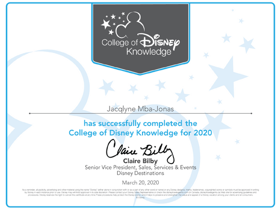 Disney Vacations Certifed Travel Specialist
