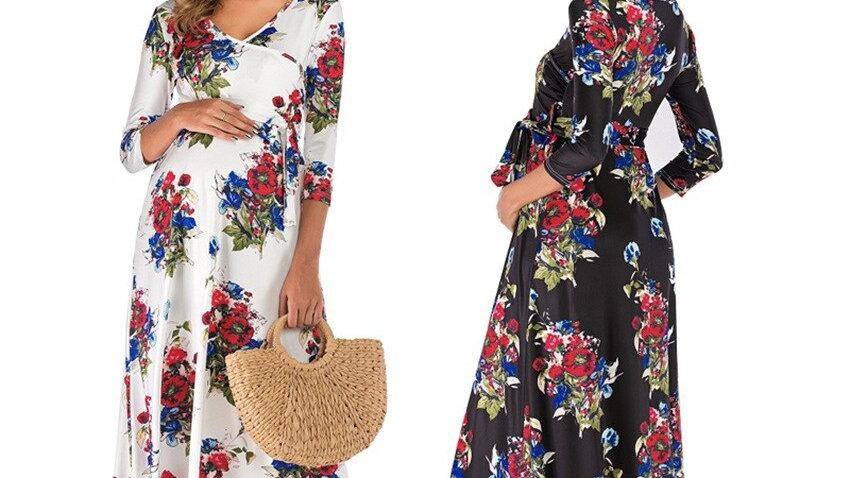 Summer Maternity Dresses Women's Floral Print