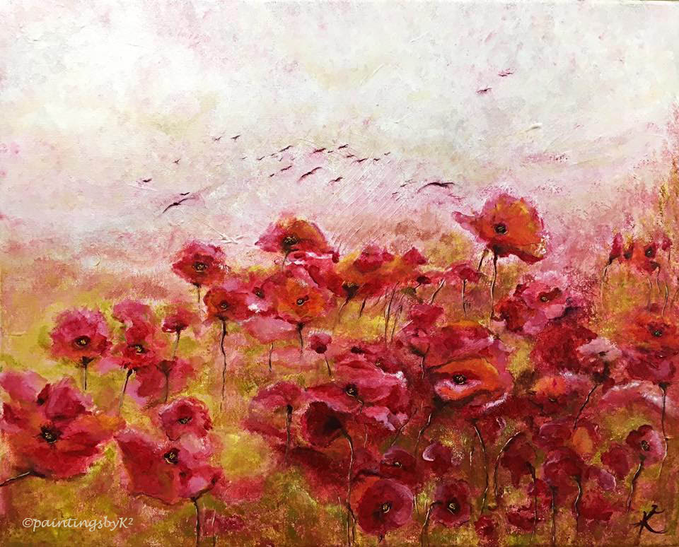 Starlings Over Poppies