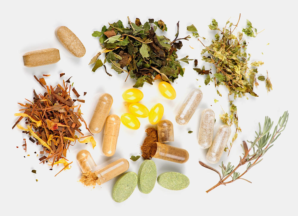 Dietary supplement pills and herbs