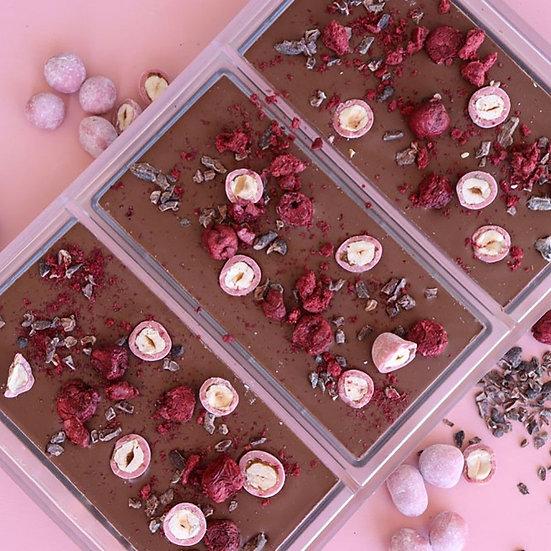 Ruby Hazelnut, Cherry and Cacoa Milk Chocolate Bar
