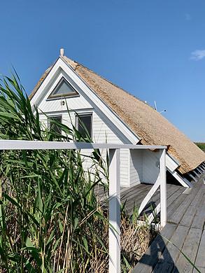Die Seehütte in Weiß.