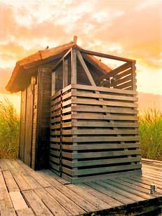 Die Outdoor Dusche - duschen bei Sonnenuntergang